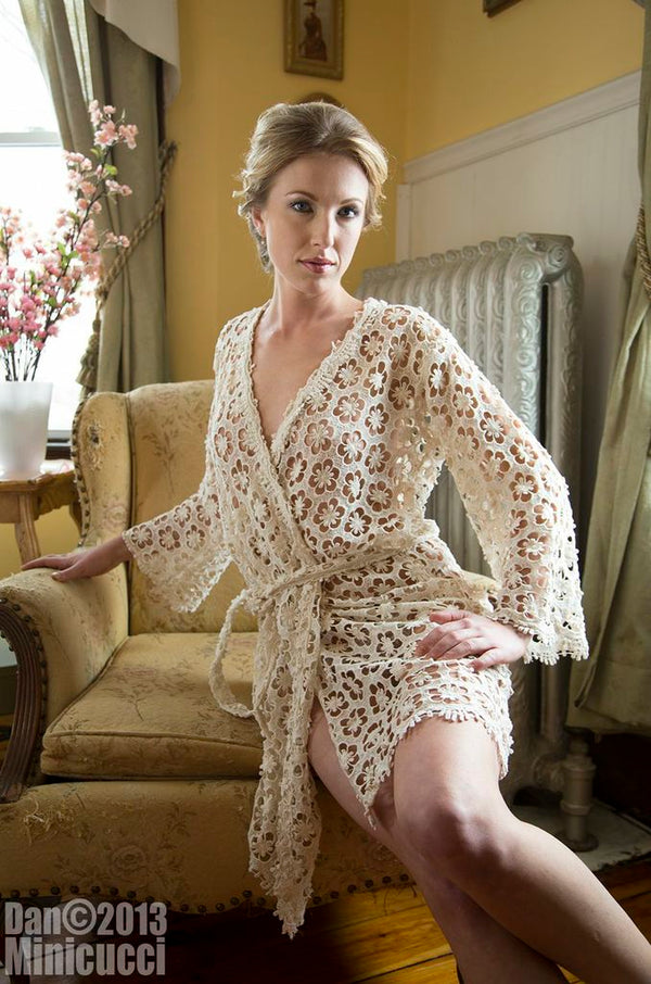 Unlined Ivory Lace Robe