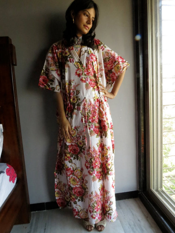 White Floral V-Neck, Ankle Length, Cinched Waist Caftan-A9 fabric Code