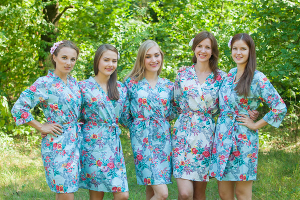 Cute Bows Pattern Bridesmaids Robes|Light Blue Cute Bows Pattern Bridesmaids Robes|Cute Bows