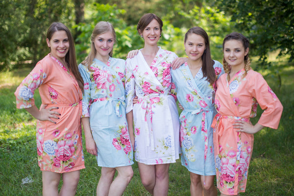 Peach & Light Blue Wedding Colors Bridesmaids Robes