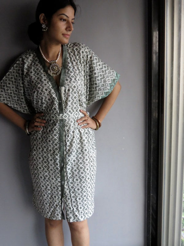 Military Green Chevron Geometric V-Neck Full Button Down, Knee Length, Belted Caftan-H5 fabric Code