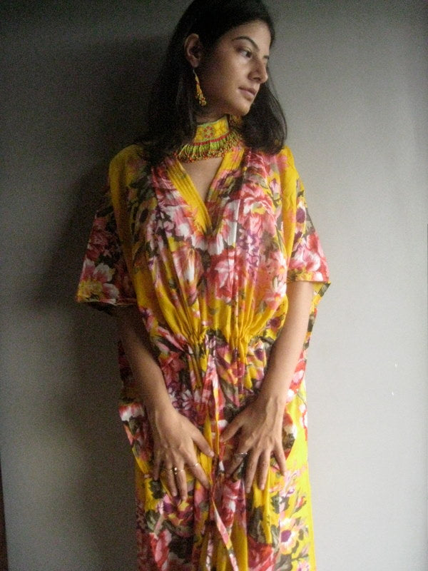 Yellow Floral V-Neck, Ankle Length, Cinched Waist Caftan-A7 fabric Code