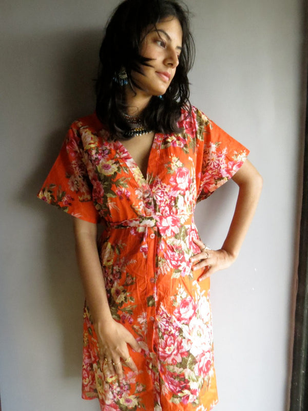 Orange Floral V-Neck Button Down to Waist, Knee Length, Cinched Waist Caftan - A3fabric Code