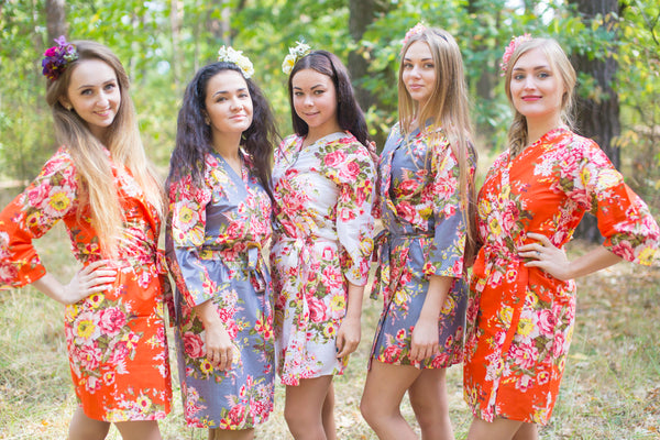 Orange and Gray Wedding Colors Bridesmaids Robes, Kimono Robes