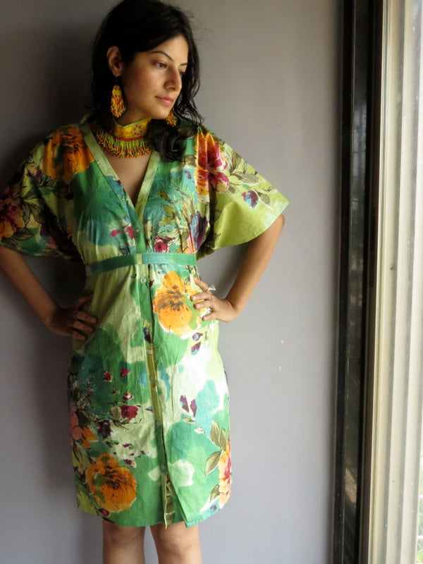 Green Multicolor Big Flower V-Neck Button Down to Waist, Knee Length, Cinched Waist Caftan-D3 fabric Code