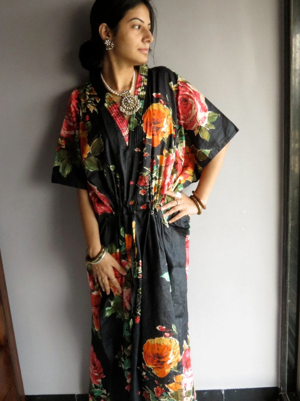 Black Multicolor Big Flower V-Neck, Ankle Length, Cinched Waist Caftan