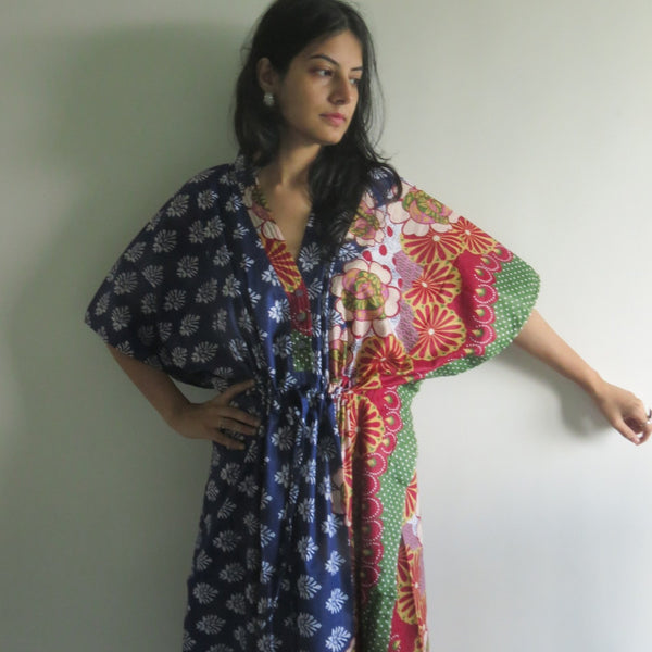 Blue Floral Bordered V-Neck Button Down to Waist, Ankle Length, Cinched Waist Caftan