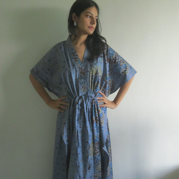 Gray Abstract Floral V-Neck Button Down to Waist, Ankle Length, Cinched Waist Caftan-N4 fabric Code