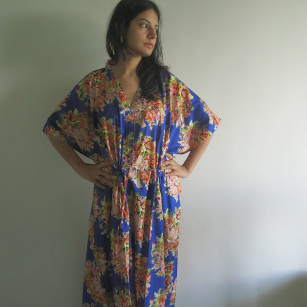 Ink Blue Floral V-Neck Button Down to Waist, Ankle Length, Cinched Waist Caftan-C16 fabric Code