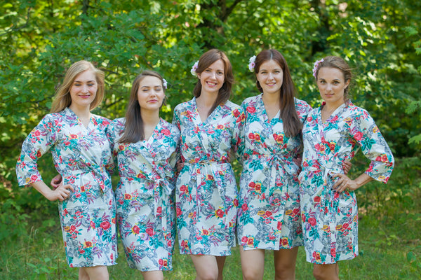 Cute Bows Pattern Bridesmaids Robes|White Cute Bows Pattern Bridesmaids Robes|Cute Bows