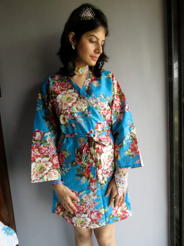 Blue Floral Knee Length, Kimono Crossover Belted Robe-A4 fabric Code