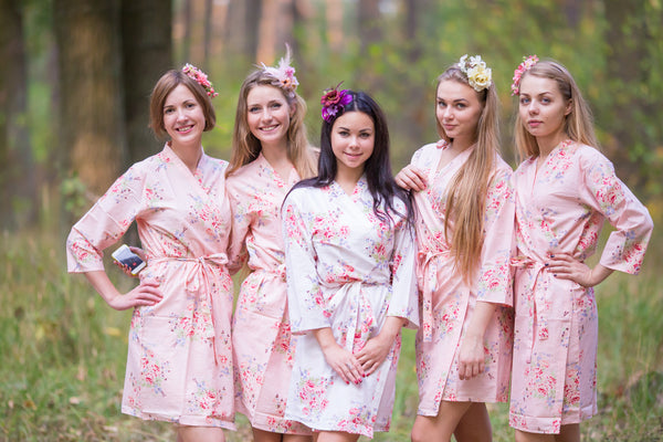 Blush Faded Flowers Pattern Bridesmaids Robes
