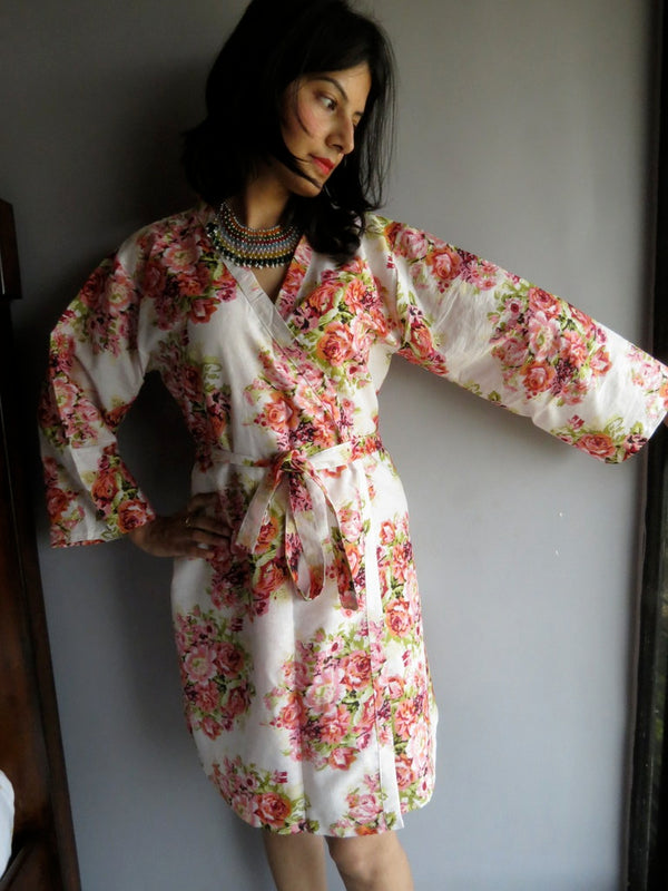 White Floral Knee Length, Kimono Crossover Belted Robe-C7 fabric Code