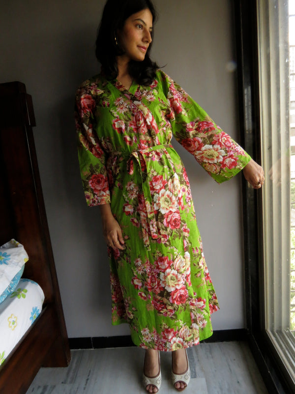 Green Floral Ankle Length, Kimono Crossover Belted Robe