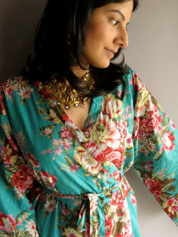 Teal Floral Ankle Length, Kimono Crossover Belted Robe-A1 fabric Code