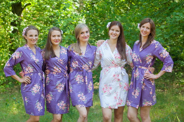 Faded Flowers Pattern Bridesmaids Robes|Deep Purple Faded Flowers Pattern Bridesmaids Robes|Faded Flowers