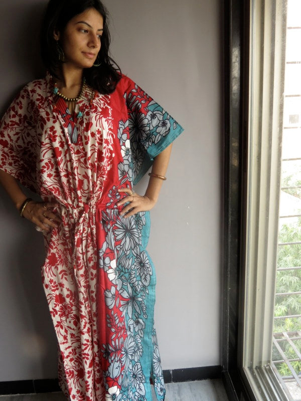 Red Leafy V-Neck, Ankle Length, Cinched Waist Caftan-F1fabric Code