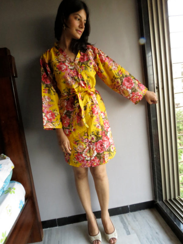 Yellow Floral Knee Length, Kimono Crossover Belted Robe-A7 fabric Code
