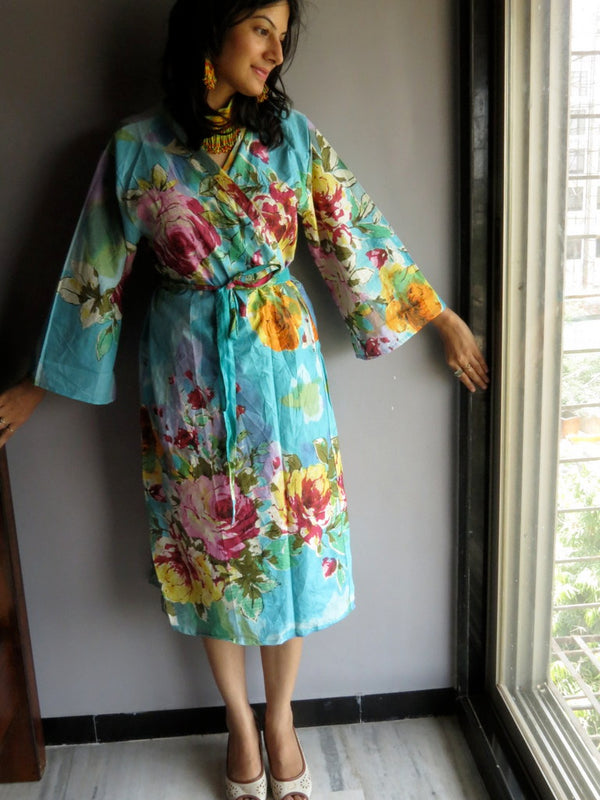 Blue Floral Knee Length, Kimono Crossover Belted Robe