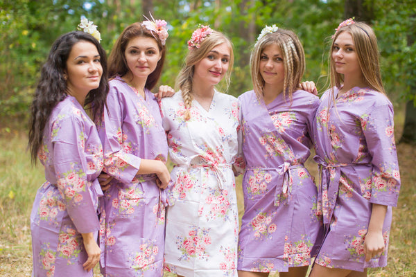 Dusty Purple Faded Flowers Pattern Bridesmaids Robes