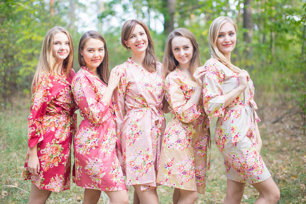 Marsala and Nude Wedding Colors Bridesmaids Robes