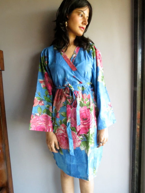 Blue Floral Knee Length, Kimono Crossover Belted Robe-E2 fabric Code