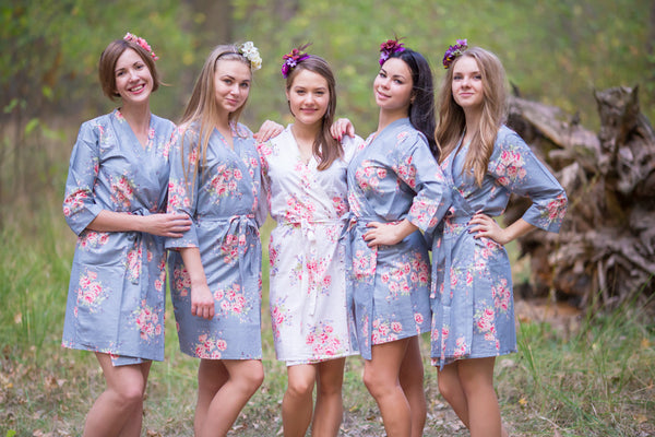 Gray Faded Flowers Pattern Bridesmaids Robes