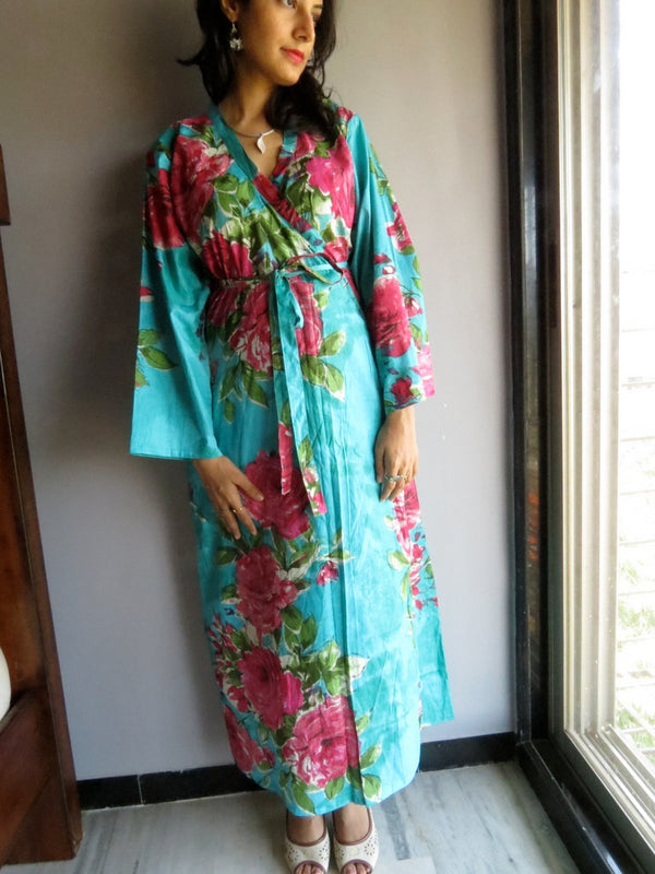 Teal Floral Ankle Length, Kimono Crossover Belted Robe-E7 fabric Code