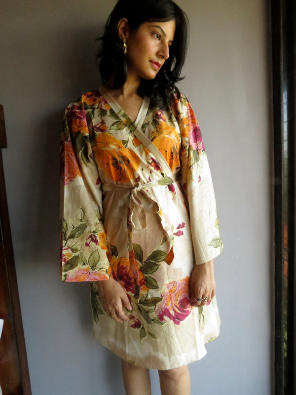 Cream Beige Floral Knee Length, Kimono Crossover Belted Robe