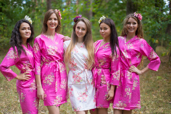 Hot Pink Faded Flowers Pattern Bridesmaids Robes