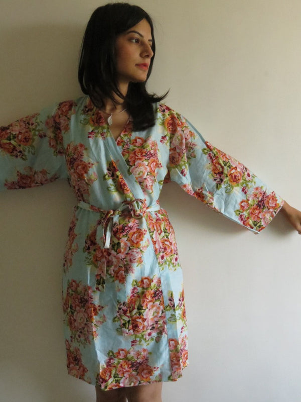 Light Blue Floral Knee Length, Kimono Crossover Belted Robe