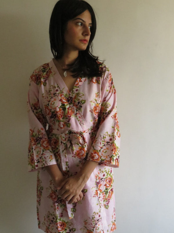 Pink Floral Knee Length, Kimono Crossover Belted Robe