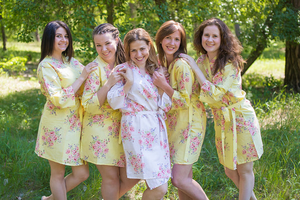 Faded Flowers Pattern Bridesmaids Robes|Light Yellow Faded Flowers Pattern Bridesmaids Robes|Faded Flowers