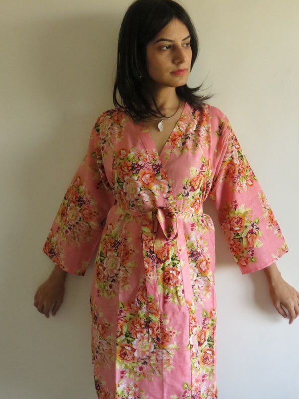 Coral Floral Knee Length, Kimono Crossover Belted Robe