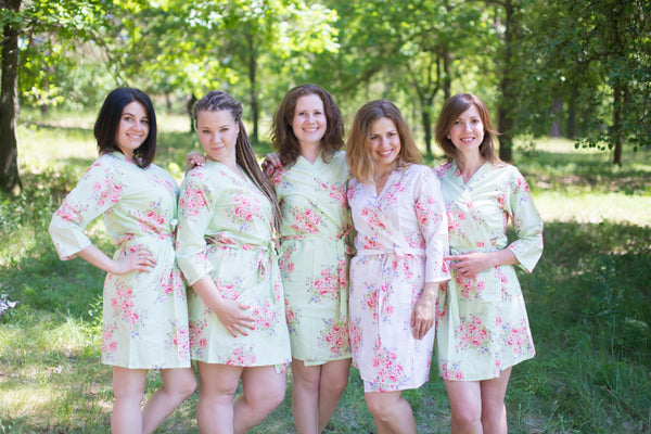 Faded Flowers Pattern Bridesmaids Robes|Mint Faded Flowers Pattern Bridesmaids Robes|Faded Flowers