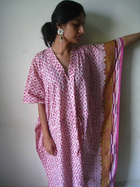 Pink Checkered V-Neck, Ankle Length, Cinched Waist Caftan
