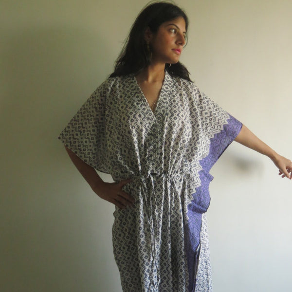 Gray Geometric V-Neck Button Down to Waist, Ankle Length, Cinched Waist Caftan