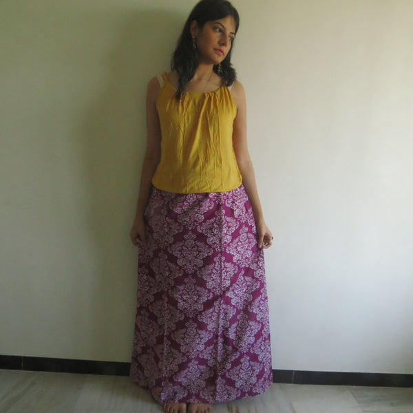 Purple Damask Wrap Around Skirt
