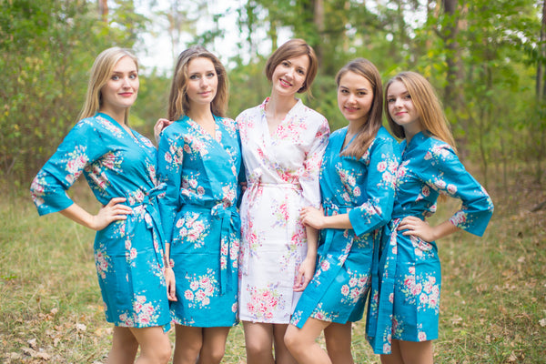 Faded Flowers Pattern Bridesmaids Robes|Peacock Blue Faded Flowers Pattern Bridesmaids Robes|Faded Flowers