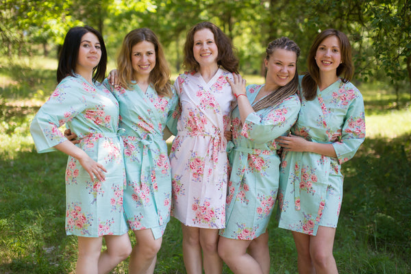 Faded Flowers Pattern Bridesmaids Robes|Seafoam Faded Flowers Pattern Bridesmaids Robes|Faded Flowers