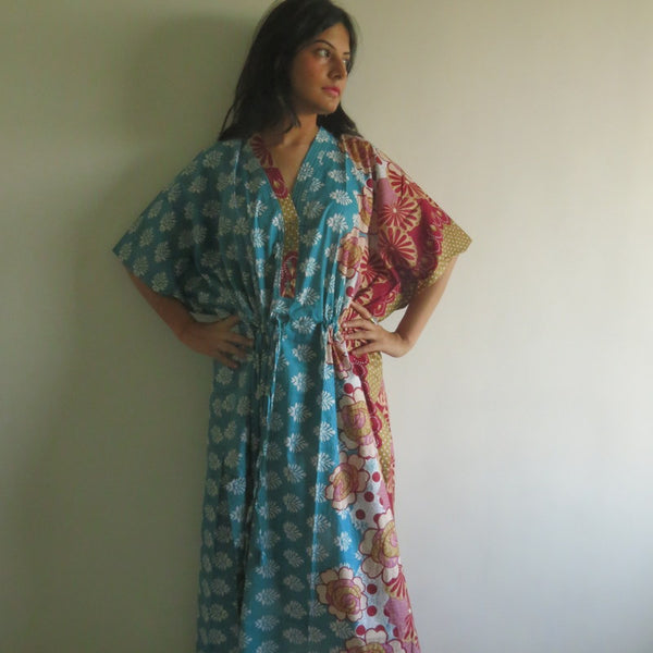Teal Floral V-Neck Button Down to Waist, Ankle Length, Cinched Waist Caftan