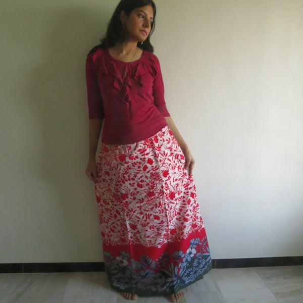 Red Leafy Wrap Around Skirt