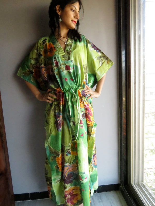Green Multicolor Big Flower V-Neck, Ankle Length, Cinched Waist Caftan-D3 fabric Code