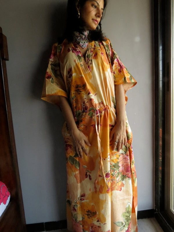 Light Peach Multicolor Big Flower V-Neck, Ankle Length, Cinched Waist Caftan-D6 fabric Code