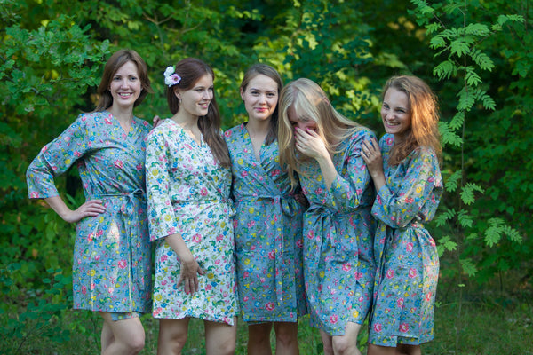 Happy Flowers Pattern Bridesmaids Robes|Gray Happy Flowers Pattern Bridesmaids Robes|Happy Flowers