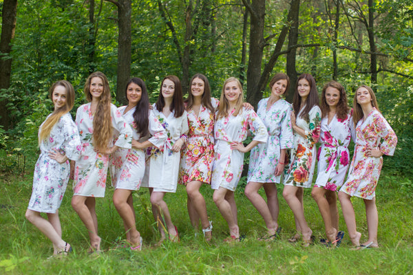 Mismatched White Bridesmaids Robes