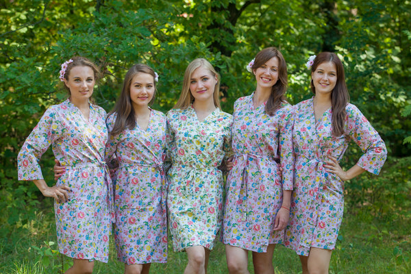 Lilac Happy Flowers Pattern Bridesmaids Robes