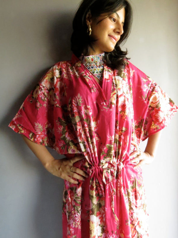 Magenta Floral V-Neck, Ankle Length, Cinched Waist Caftan- A6 fabric Code