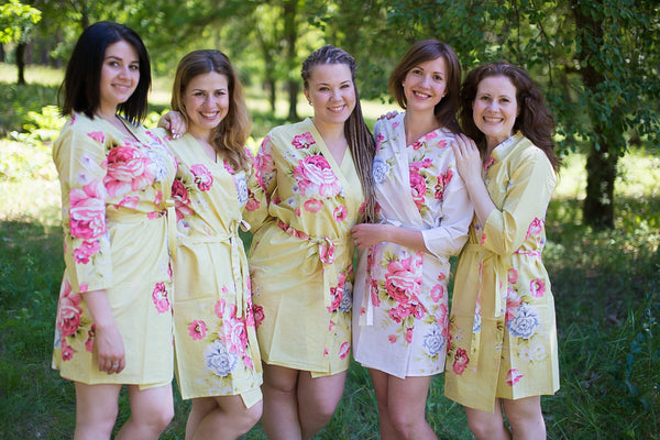Light Yellow Cabbage Roses Pattern Bridesmaids Robes