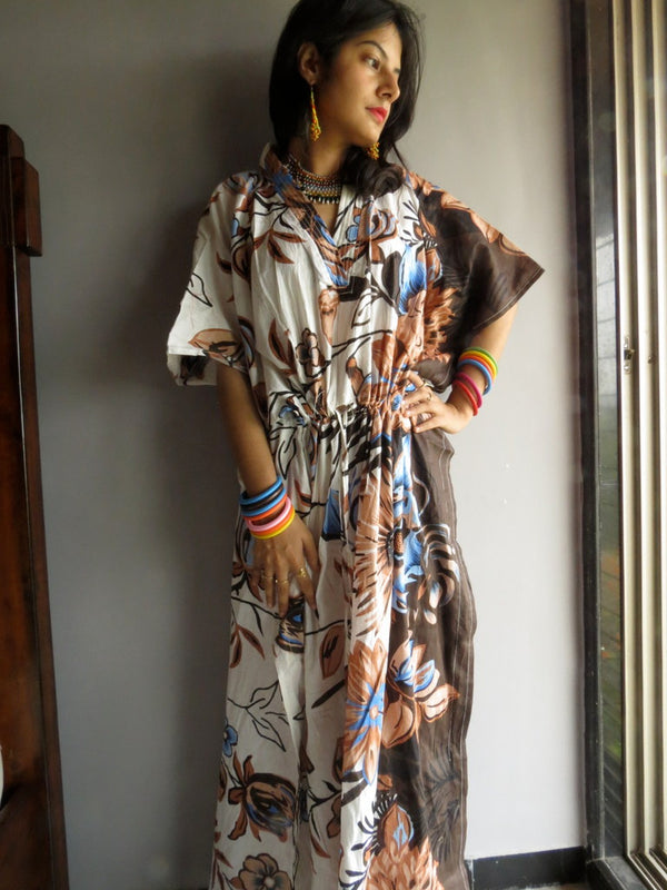Ivory Peach Brown Floral V-Neck, Ankle Length, Cinched Waist Caftan-V2 fabric Code